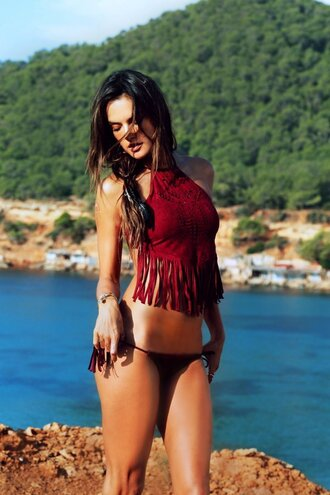 top bikini bikini top bikini bottoms alessandra ambrosio summer beach fringes swimwear