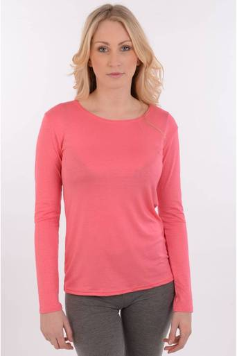 Ladies Erna Basic Long Sleeve Top in Coral | Pop Couture