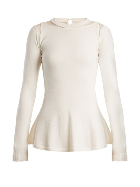 oscar de la renta sweater wool sweater mesh wool