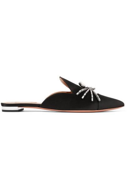 Aquazzura embellished slippers black satin shoes