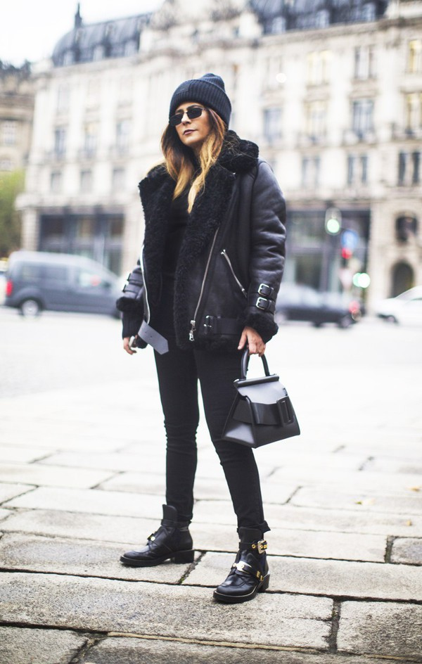 fashionlandscape blogger jacket shoes hat jeans sunglasses bag all black everything black jacket cut-out ankle boots black beanie black jeans black sunglasses black bag acne studios balenciaga asos