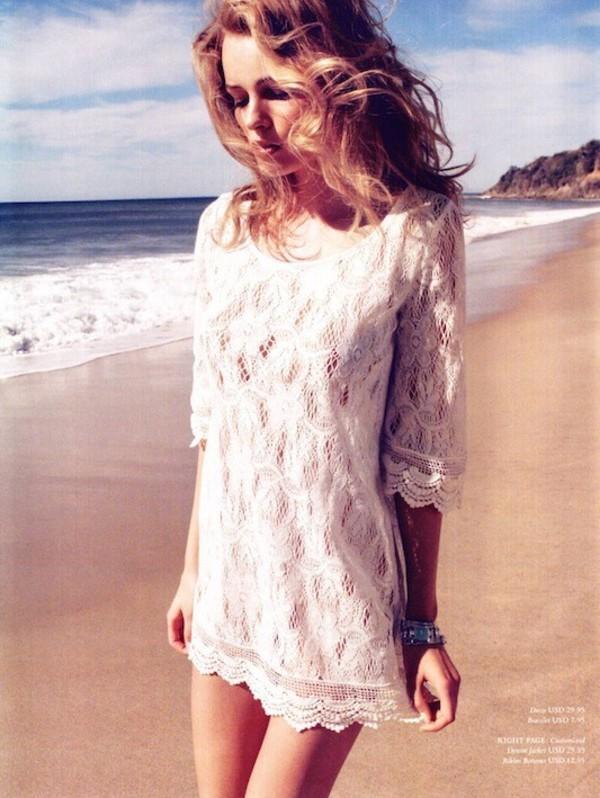 shirt lace dress white lace dress white dress beach dress lace dress beach summer dress hipster wedding crochet; dress
