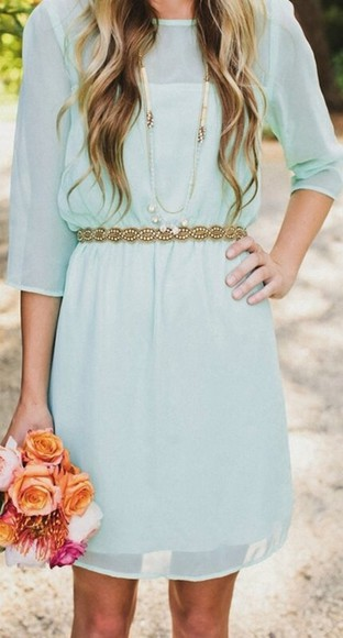 dress summer dress teal dress flowers roses gold belt necklace sheer dress