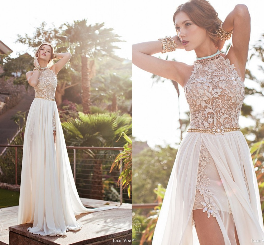 Julie Lace Wedding Dress Sexy White Chiffon A Line Beaded Appliques ...
