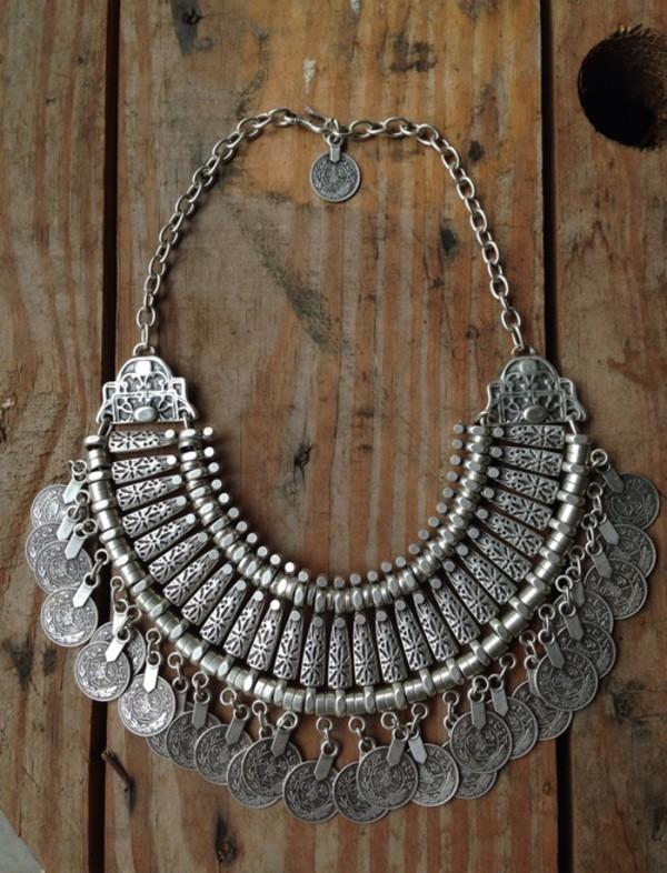 jewels necklace boho silver jewelry