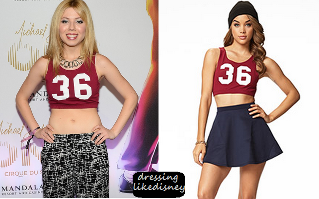 Dressing Like Disney - Celebrity Fashion and Style Source: Jennette McCurdy: Forever 21 Sporty Cut out Red Number 36 Crop Top