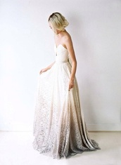 white dress,white,lace dress,lace,ombre dress,wedding dress,wedding dress lace,strapless wedding dresses,strapless,hippie,boho wedding dress,boho,ombre,hipster wedding,gown,formal,semi formal,glitter dress,dress,gold,gradient,fade,brown,brown dress,white and brown dress,floral,gold sequins dress,fade in,white long dress,floral dress