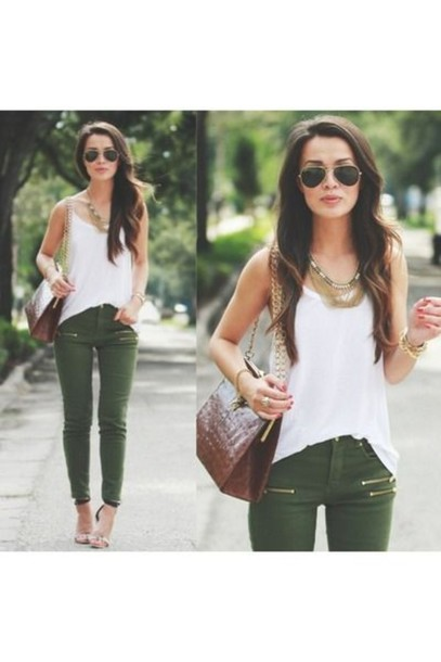 1c43b15f66 jeans green tank top summer ineed bag skinny jeans necklace sunglasses  forest green