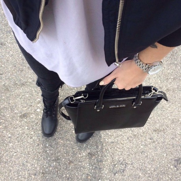 bag shoes black t-shirt blsck black jeans white t-shirt watch jacket