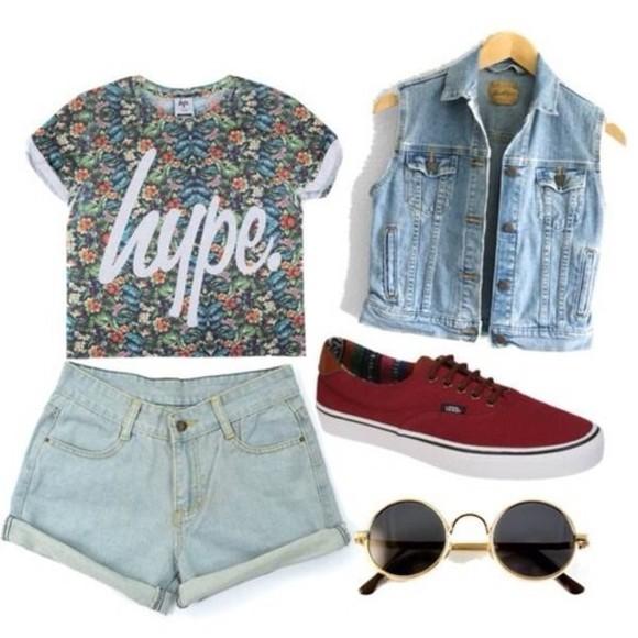 denim vest floral t shirt hype t-shirt vans shirt shirt floral print hype t-shirt blouse hipster