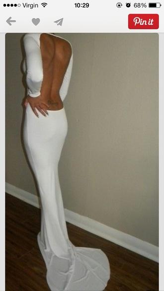 dress long white backless dress long sleeved dress