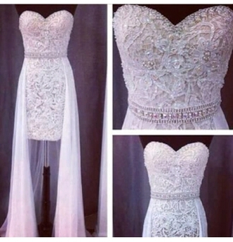 dress embellished white gold prom gown
