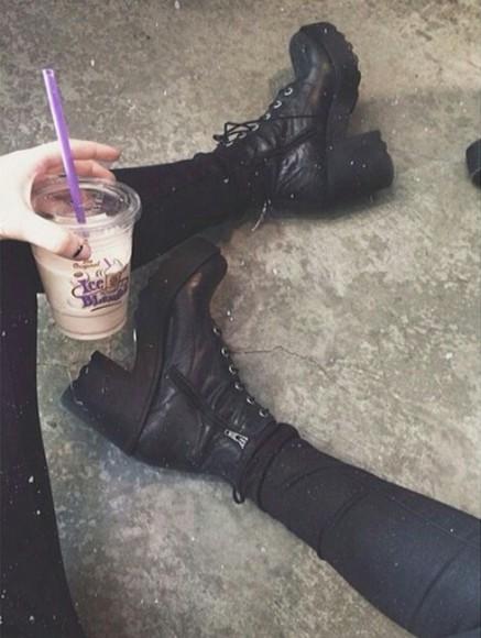 shoes platform shoes black boots