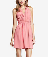 LIGHT PINK RUCHED JERSEY HALTER DRESS | Express
