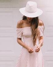 dress,white hat,tumblr,red dress,off the shoulder,off the shoulder dress,stripes,striped dress,felt hat,hat