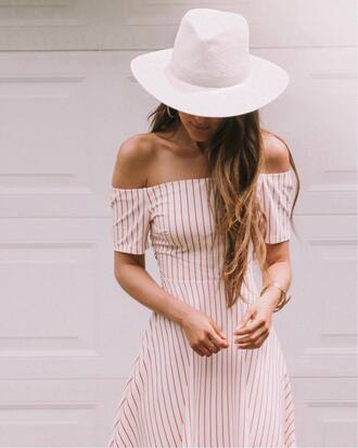 dress white hat tumblr red dress off the shoulder off the shoulder dress stripes striped dress felt hat hat
