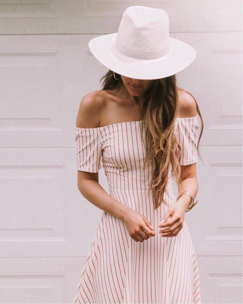 dress white hat tumblr red dress off the shoulder off the shoulder dress  stripes striped dress 1fe1a4cc385