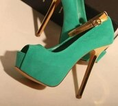 shoes,green,gold,heels,high heels