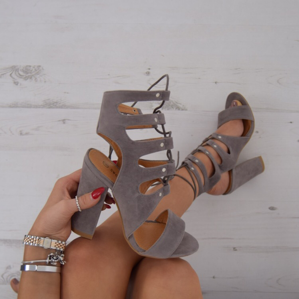 4aaee355425 FLAWLESS Cut Out Lace Up Block Heels - Grey Suede