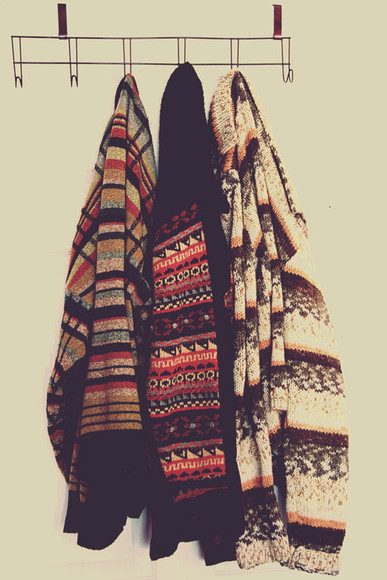 sweater jumper cream cardigan winter red aztec warm cozy oversized sweater winter sweater autumn fall sweater rusty brown cute sweaters