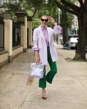 jacket,blazer,lilac,double breasted,pants,flare pants,pumps,leopard print,blouse,handbag,transparent  bag,heart sunglasses