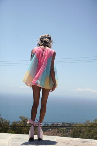 tank top chiffon mini dress pastel neon dress top? cute multicolor