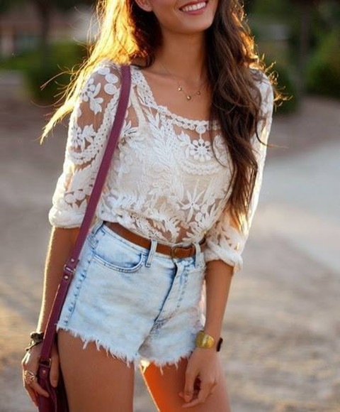 bag leather bag shirt top lace white sweater shorts blouse