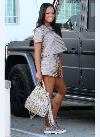 shoes shorts gold christina milian top two-piece bag metallic