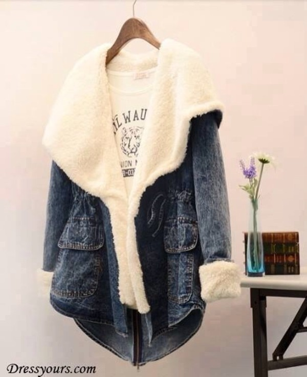 coat jacket jeans fur comfortable outfit