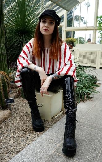 thunderandthreads blogger top belt pants shoes hat platform boots boots striped top