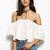 White Off The Shoulder Ruffle Crop Top -SheIn(Sheinside)