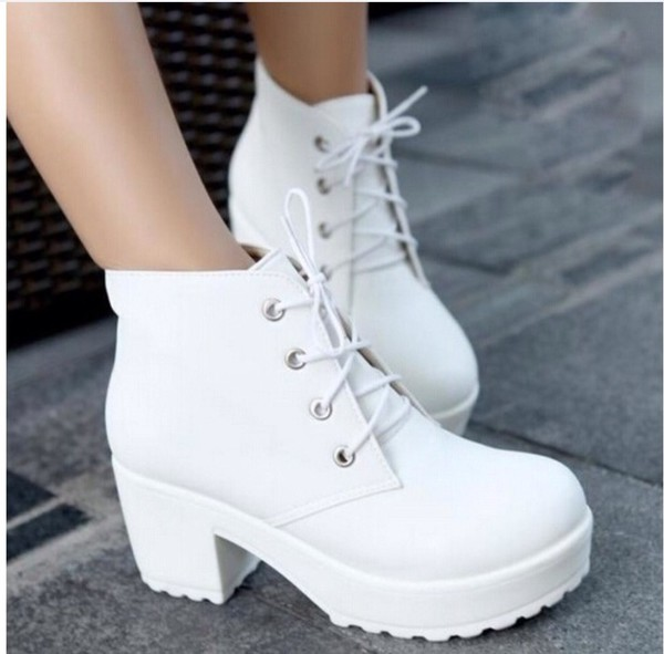 Locomotive Boots Platform Shoes Short Boots Women Chunky Heel ...