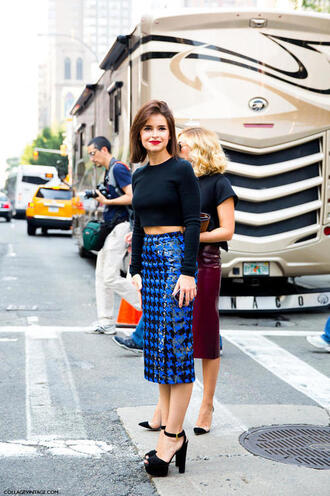 shoes miroslava duma heels houndstooth pencil skirt blue skirt platform sandals