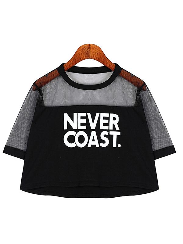 Short Sleeve Lacework Loose Punk Short T-Shirt : KissChic.com