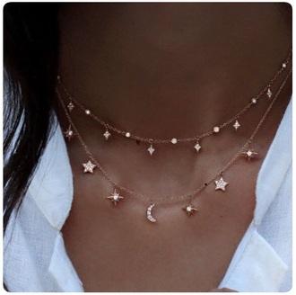 jewels stars moon diamonds necklace silver gold jewelry choker necklace gold choker