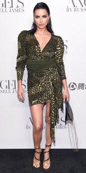 dress,celebrity,mini dress,model off-duty,sandals,adriana lima,fashion week