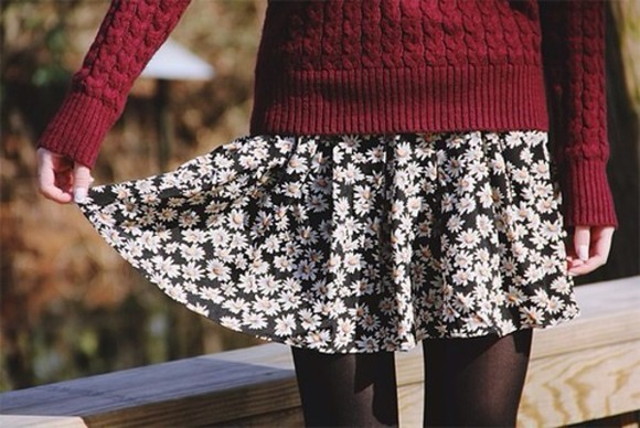 sweater burgundy sweater burgundy red skirt flowers floral all 3 skirts, floral patterns floral skirt red knit sweater tights black pretty dress floral dress