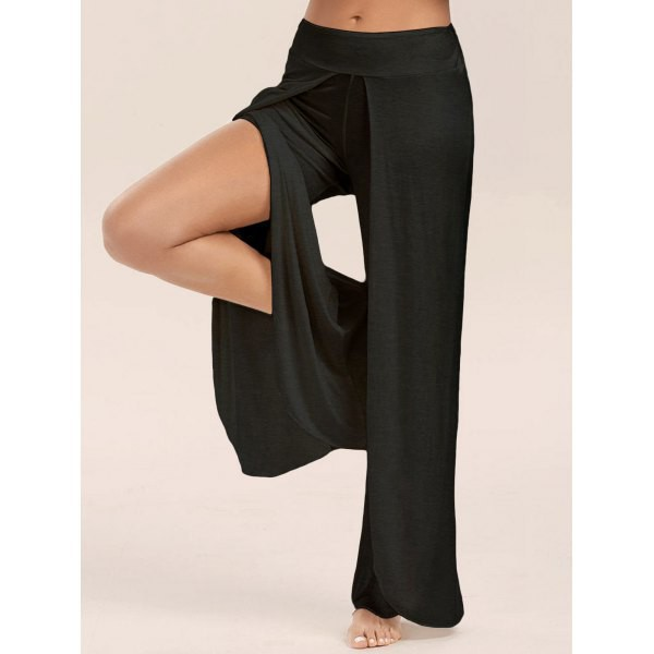 pants black pants high slit pants palazzo pants