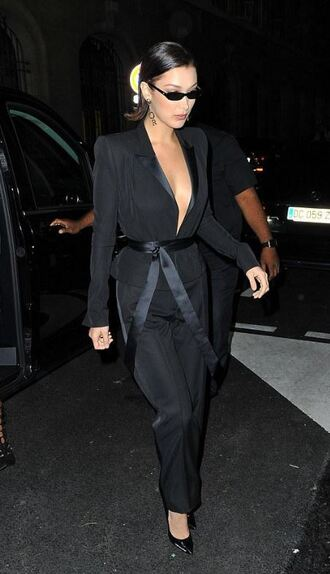 pants suit bella hadid model off-duty black plunge v neck paris fashion week 2017 shoes