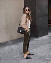 pants,olive green,mules,shoulder bag,black bag,leather bag,sunglasses,cardigan,knitted sweater,white t-shirt