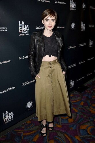 skirt midi skirt lily collins jacket sandals crop tops