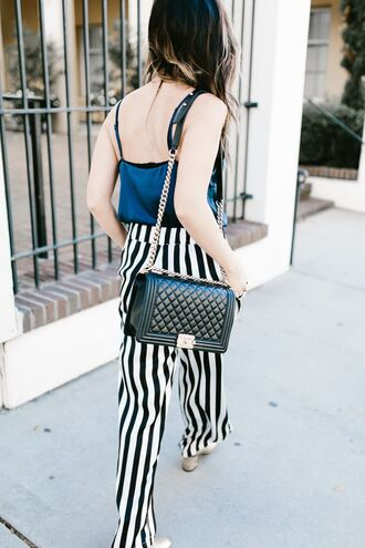 for all things lovely blogger tank top pants shoes bag jewels sunglasses fall outfits chanel bag striped pants blue top