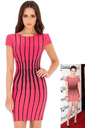 Striped Bodycon Dress in the style of Kristen Stewart