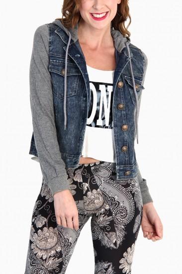 LoveMelrose.com From Harry & Molly | Sweatshirt Sleeve Hoodie Denim Jacket  - OUTERWEAR - TOPS