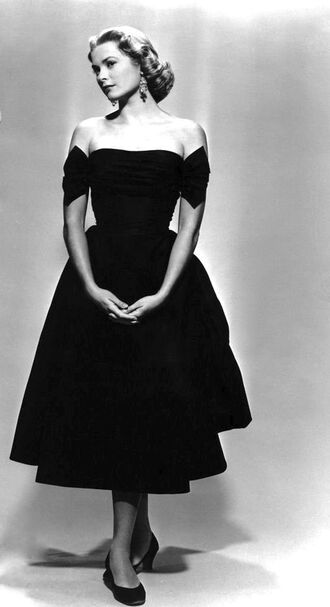 dress grace kelly midi dress black dress ballet flats flats black flats actress retro dress retro