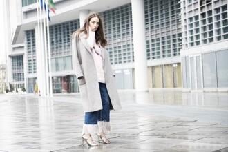 my free choice blogger sandal heels cropped pants boyfriend coat