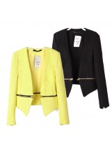 Collarless Crop Jacket