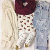 jeans,converse,white converse,flowers t shirt,t-shirt,flowers,blue jeans,cardigan,hat,floral,granate,scarf,burgundy,pants,top,shirt