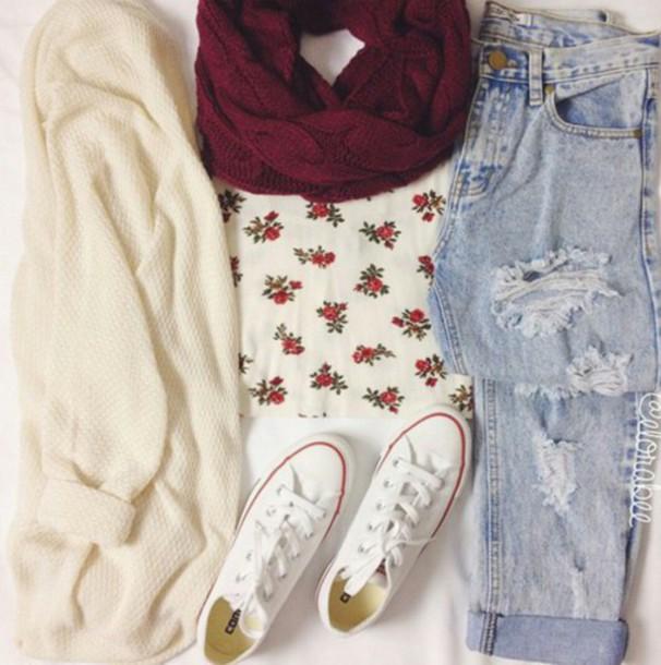 jeans converse white converse flowers t shirt t-shirt flowers blue jeans cardigan white converse hat floral granate scarf burgundy pants top shirt