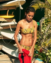 swimwear,melissa odabash,snake,snake skin,Matchesfashion,two-piece,swimwear two piece,bikini top,bikini bottoms,summer,summer outfits,vacation outfits,yellow,yellow bikini